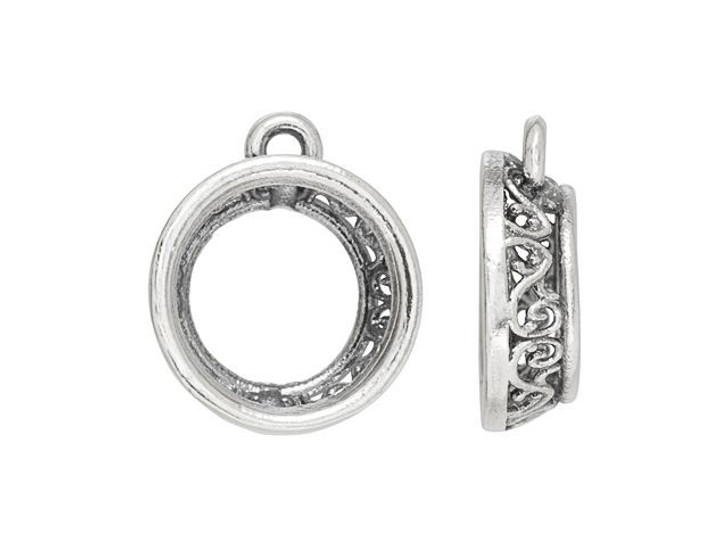 Artbeads 12mm Rivoli Filigree Charm Setting in Sterling Silver