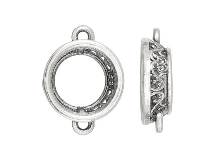 Artbeads-Exclusive 12mm Rivoli Filigree Link Setting in Sterling Silver