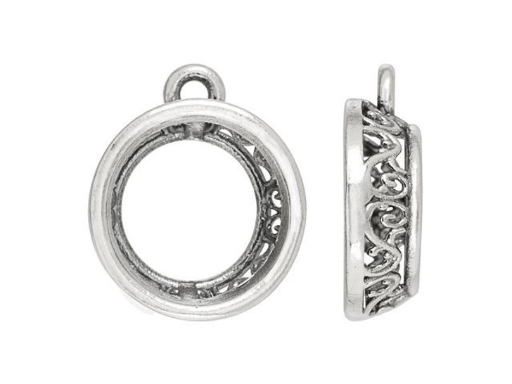 Artbeads-Exclusive 14mm Rivoli Filigree Charm Setting in Sterling Silver