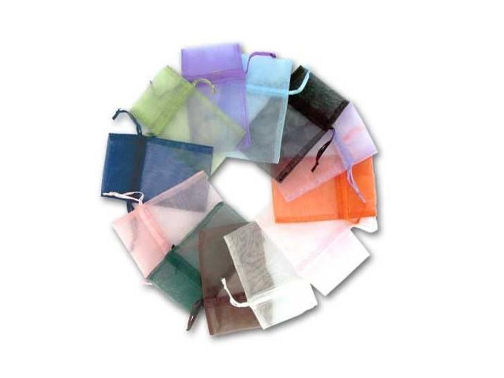 Asst. Color, 12 pc. 3x4.5 Inch Organza bags