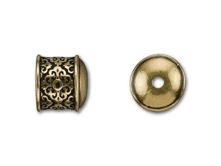 B&B Benbassat 10mm Antique Brass-Plated Pewter Filigree End Cap
