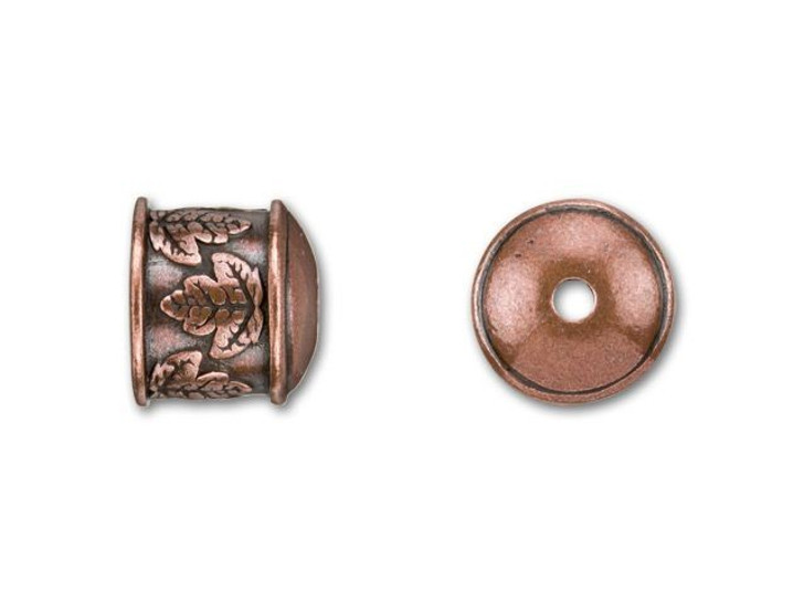 B&B Benbassat 10mm Antique Copper-Plated Pewter Leaves End Cap