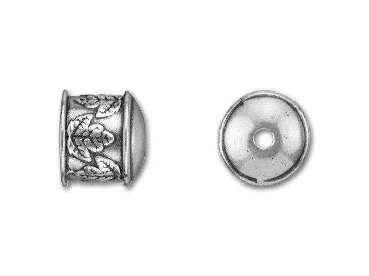 B&B Benbassat 10mm Antique Silver-Plated Pewter Leaves End Cap