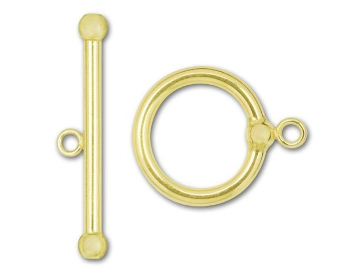 B&B Benbassat Gold-Filled 14K/20 Large Plain Toggle Clasp with Ball End