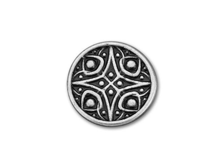 B&B Benbassat 15.4mm Antique Silver-Plated Pewter Fancy Square and Dots Pattern Round Button