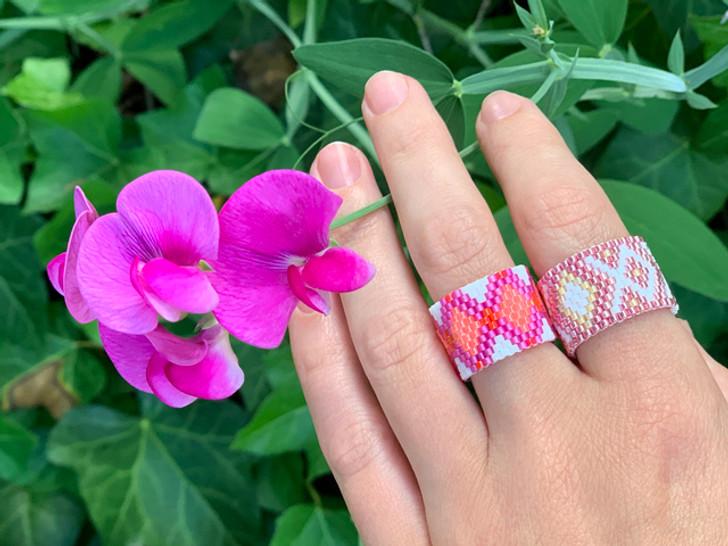 Pink Peyote Rings