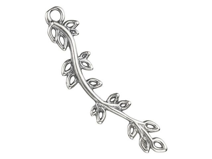 B&B Benbassat 24x6mm Antique Silver-Plated Brass Branch with Leaves Charm