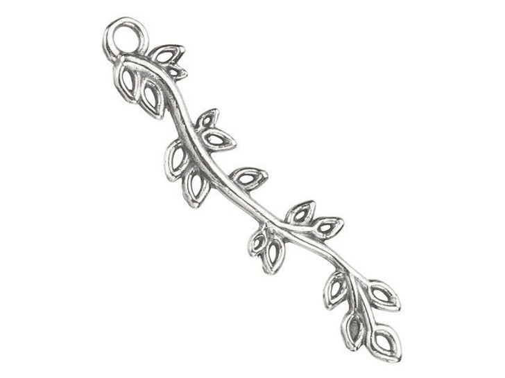 B&B Benbassat 24x6mm Sterling Silver Branch with Leaves Charm