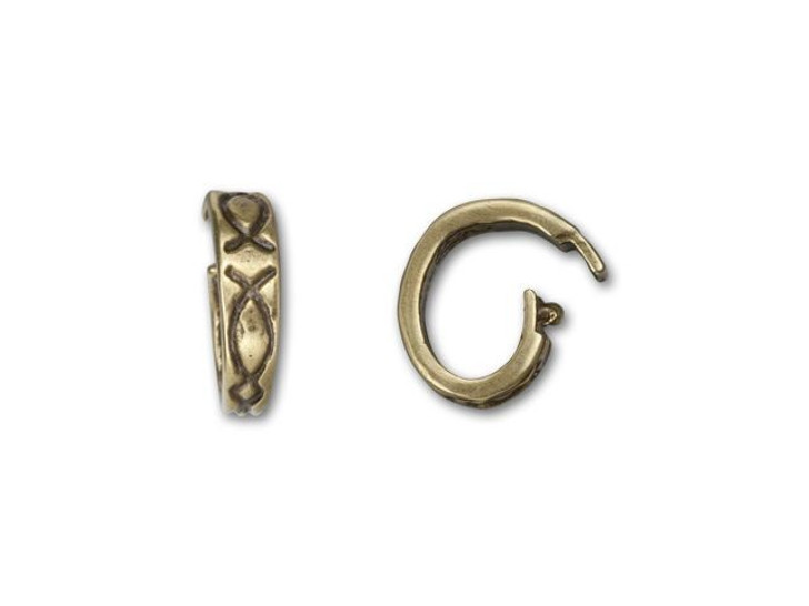 B&B Benbassat 6x9mm Antique Brass Ichthus Design Oval Locking Jump Ring