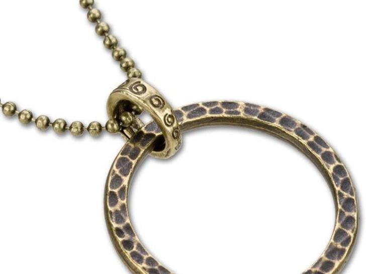 B&B Benbassat 6x9mm Antique Brass Leaf and Vine Design Oval Locking Jump Ring