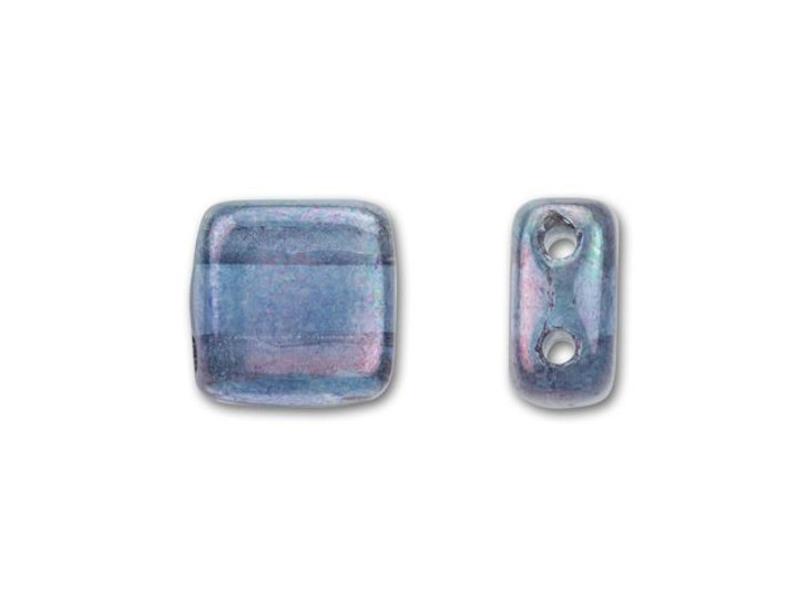 CzechMates Glass 6mm Transparent Amethyst Luster Two-Hole Tile Bead