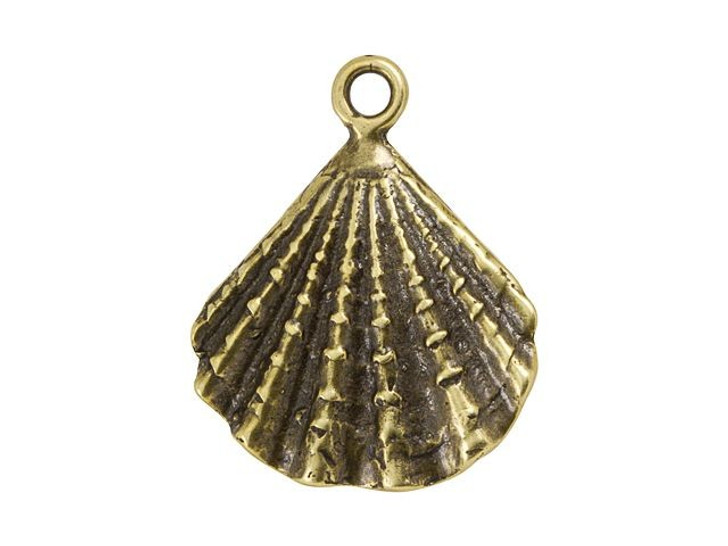 B&B Benbassat Antique Brass Large Seashell Charm