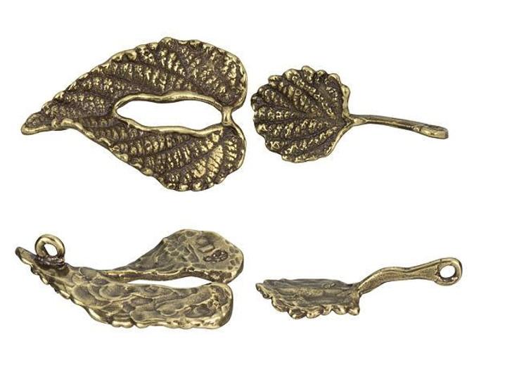 B&B Benbassat Antique Brass Leaf Hook and Eye Clasp Set