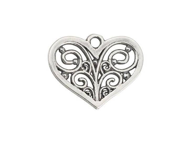 B&B Benbassat Antique Silver-Plated Brass Filigree Heart Pendant
