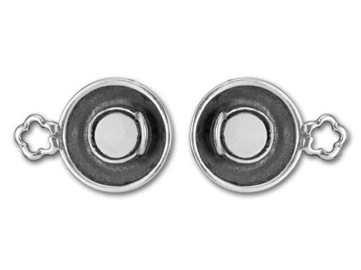 B&B Benbassat Antique Silver-Plated Brass Flower Design Magnetic Clasp