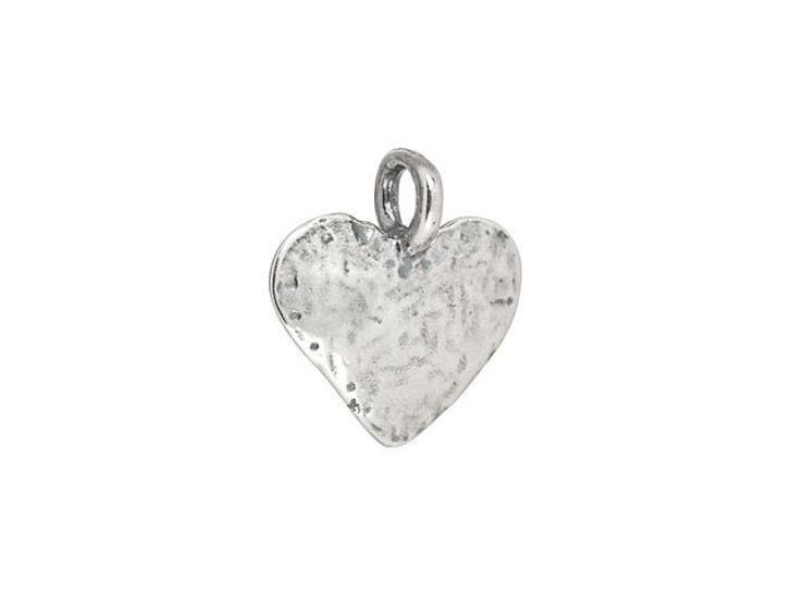 B&B Benbassat Antique Silver-Plated Brass Hammered Heart Charm