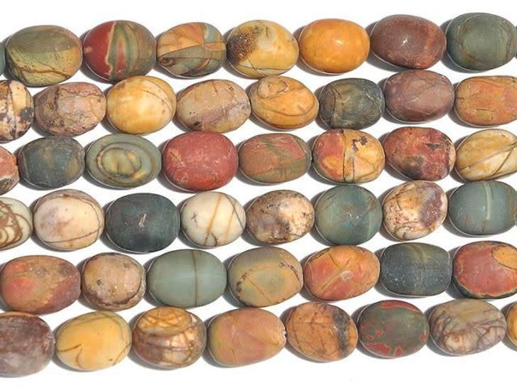 Dakota Stones 12x16mm Matte Red Creek Jasper Tumble Nugget Strand