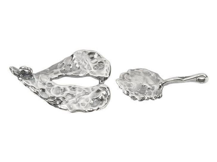 B&B Benbassat Antique Silver-Plated Brass Leaf Hook and Eye Clasp Set