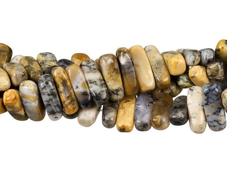 Dakota Stones 5 x 15mm Black Moss Opal Center Drill Flat Chip Bead Strand