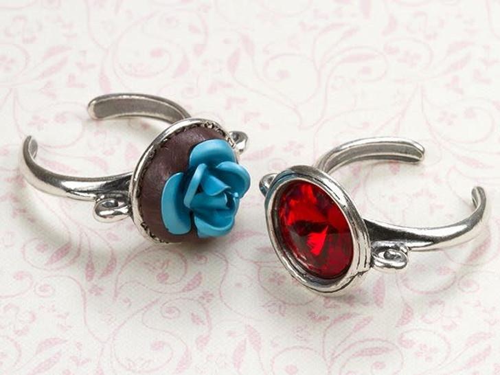 B&B Benbassat Antique Silver-Plated Pewter Dot Pattern 14mm Rivoli Setting Ring