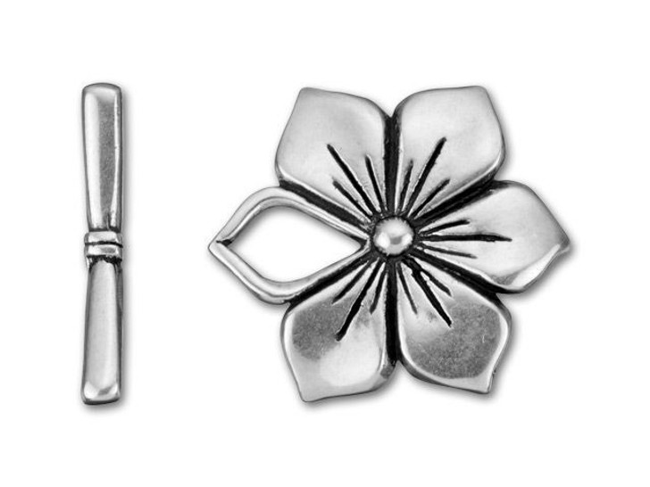 B&B Benbassat Antique Silver-Plated Pewter Flower Toggle Clasp