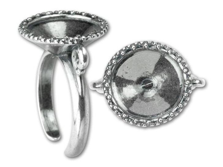 B&B Benbassat Antique Silver-Plated Pewter Weave Pattern 14mm Rivoli Setting Ring