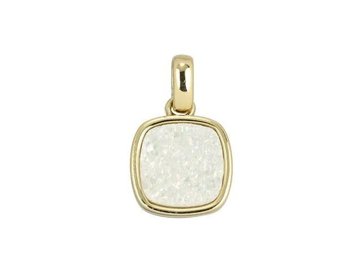 Dakota Stones 9mm White Druzy Gold-Plated Square Charm