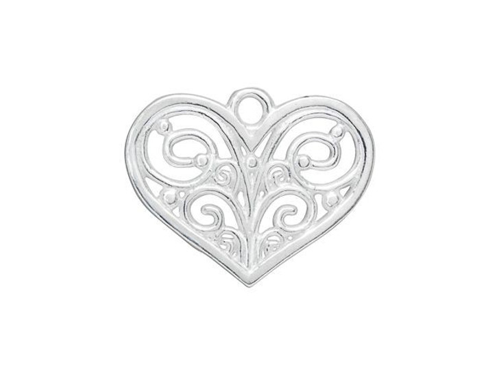 B&B Benbassat Silver-Plated Brass Filigree Heart Pendant