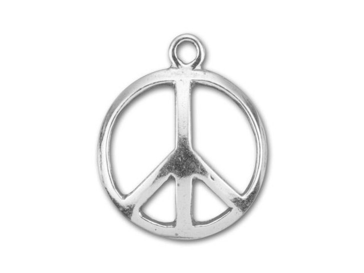 B&B Benbassat Sterling Silver Small Circle Link with Peace Sign
