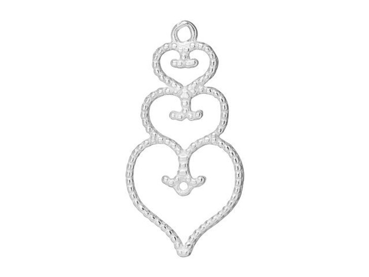 B&B Benbassat Sterling Silver Three Hearts Stacked Charm