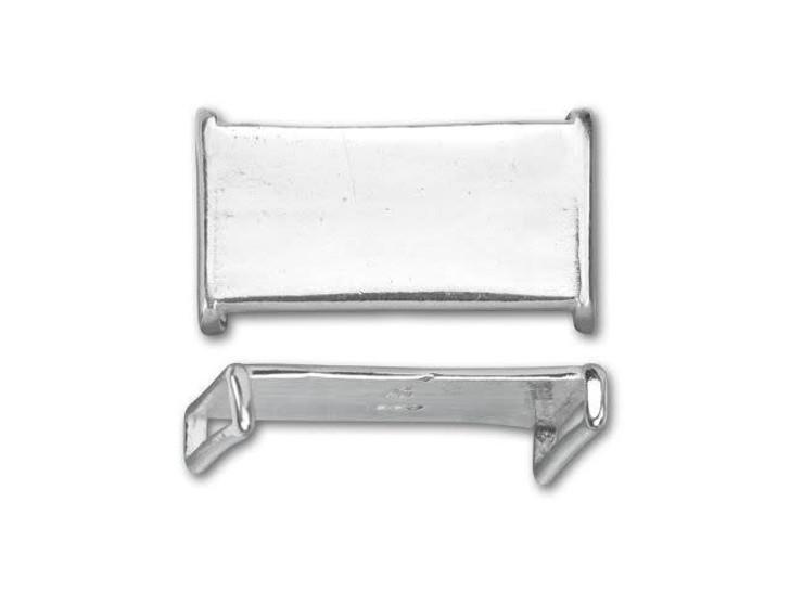 B&B Benbassat Sterling Silver Wide Plain Rectangle Slider Bead
