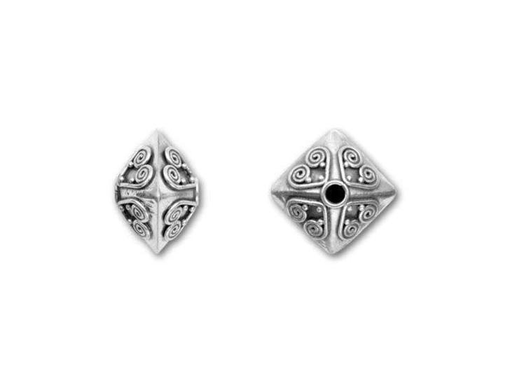 Bali Silver Bi-pyramid Bead