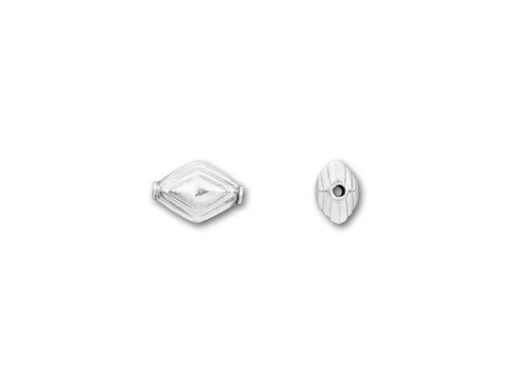 Bali Silver Diamond-Shaped Bead