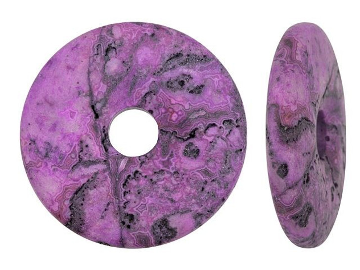Dakota Stones Matte Purple Crazy Lace Agate 40mm Donut Pendant