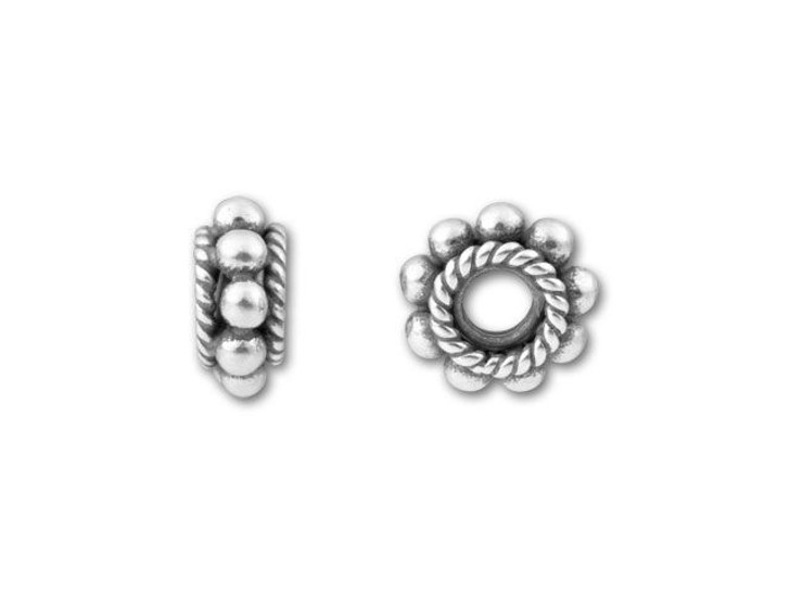 Bali Silver Large Spacer with Granulation and Rope