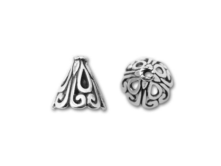 Bali Silver Open Cone with Filigree Pattern