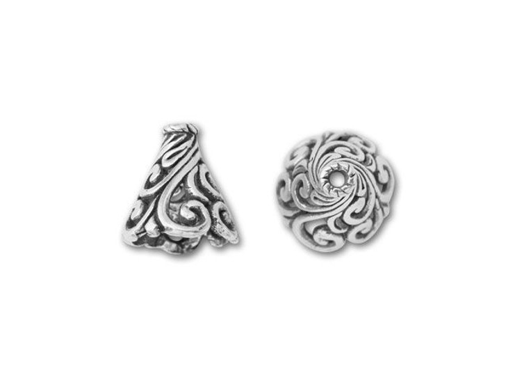 Bali Silver Open Cone With Swirling Filigree Pattern
