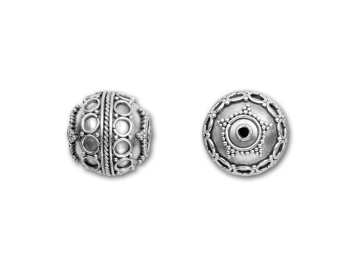 Bali Silver Round Bead with Dot and Circle Design