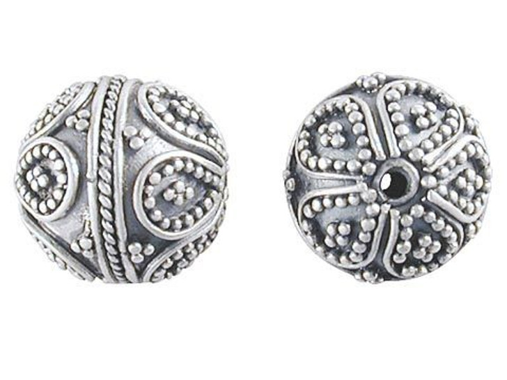 Bali Silver Round Bead with Intricate Granulation