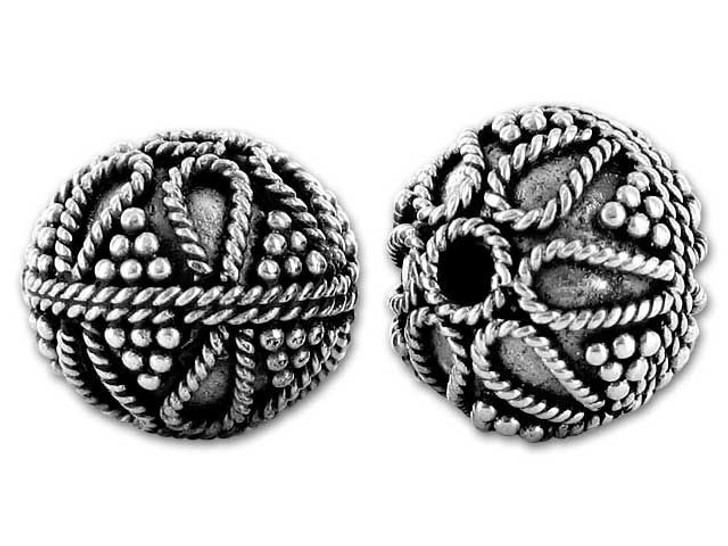 Bali Silver Round Bead with Ropes and Granulations