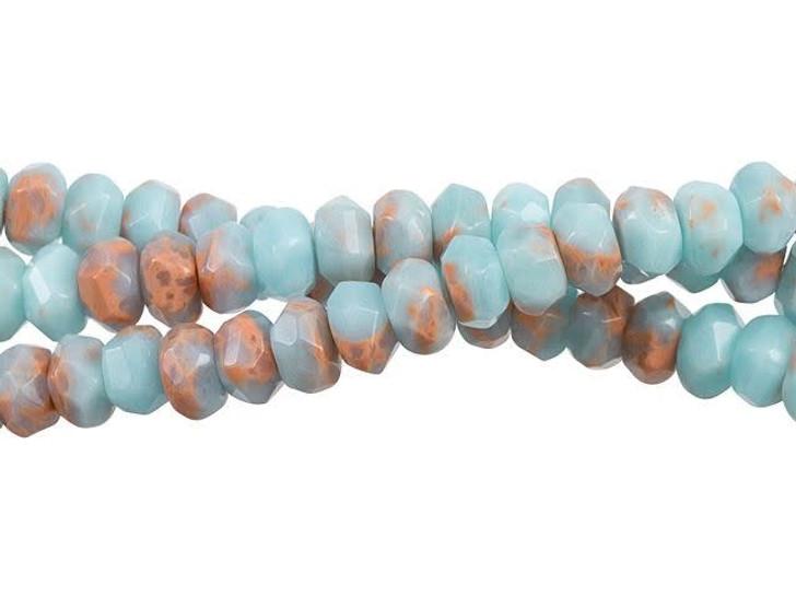 Dakota Stones Powder Blue Impression Jasper 8mm Faceted Rondelle Bead Strand
