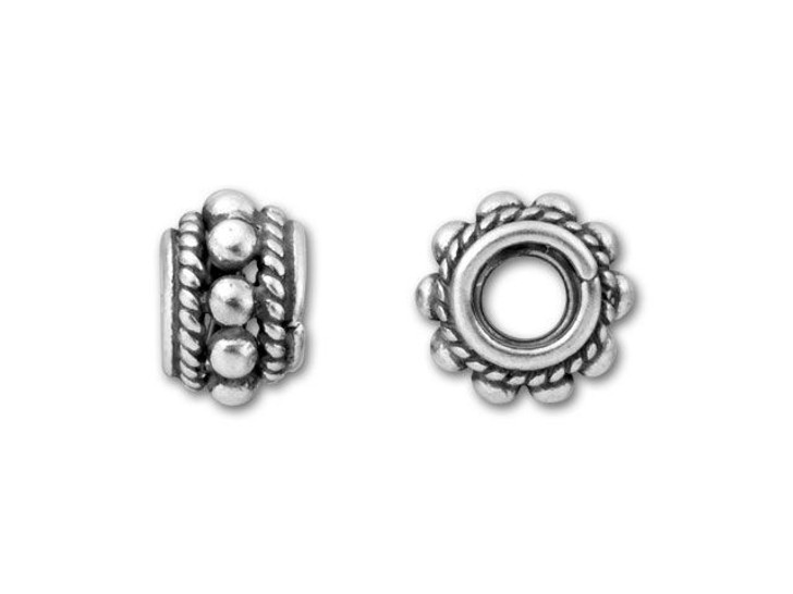 Bali Silver Spacer with Granulation and Rope