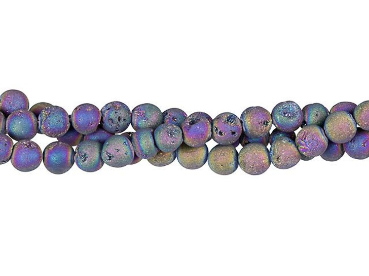 Dakota Stones Rainbow Druzy Agate 6mm Round Bead Strand