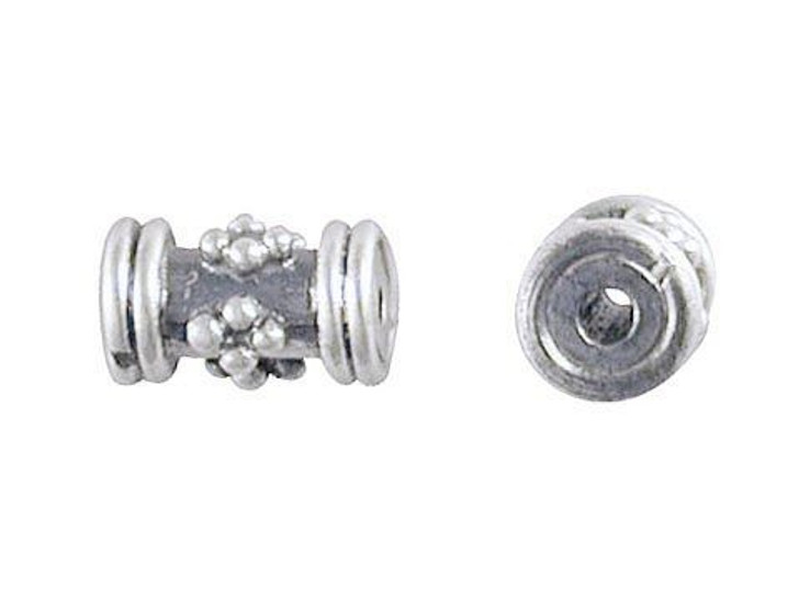 Bali Silver Tube Spacer with Granulated Diamond