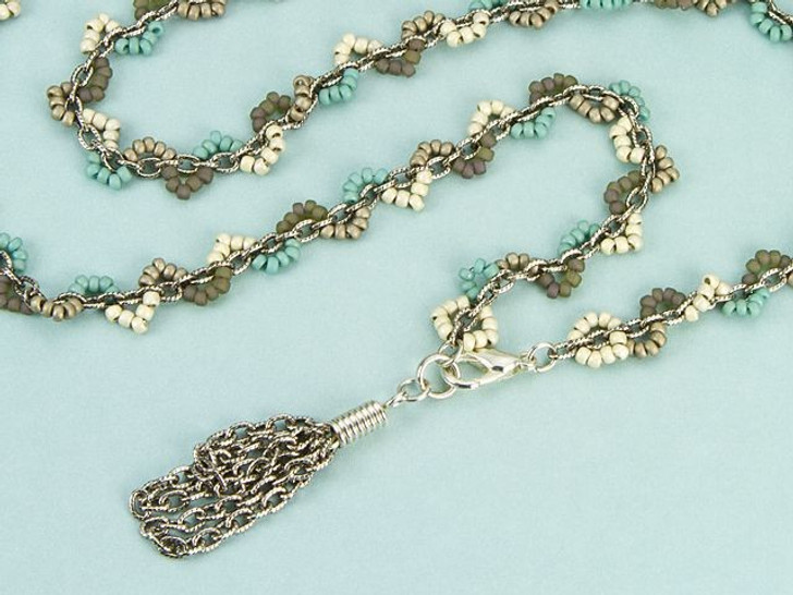 Beach Scallop Wrap Necklace/Bracelet Combo Kit with Silver Chain