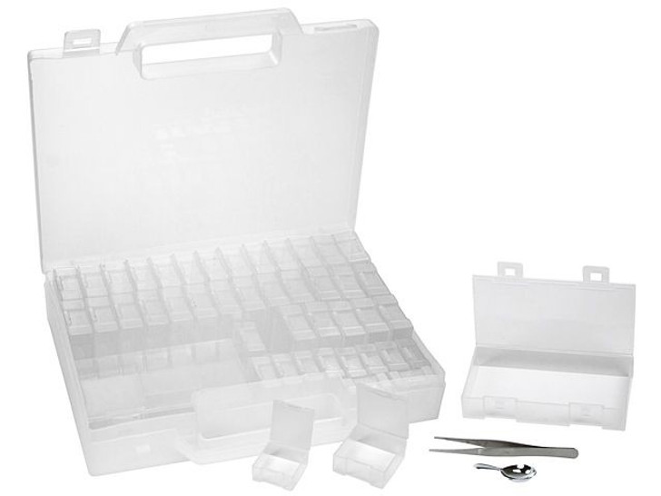 Bead Storage Carrying Case with Tweezers, Scoop, and 40 Storage Boxes