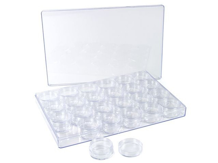 Bead Storage System - 24 Small 1 inch Containers with Screw Top Lids