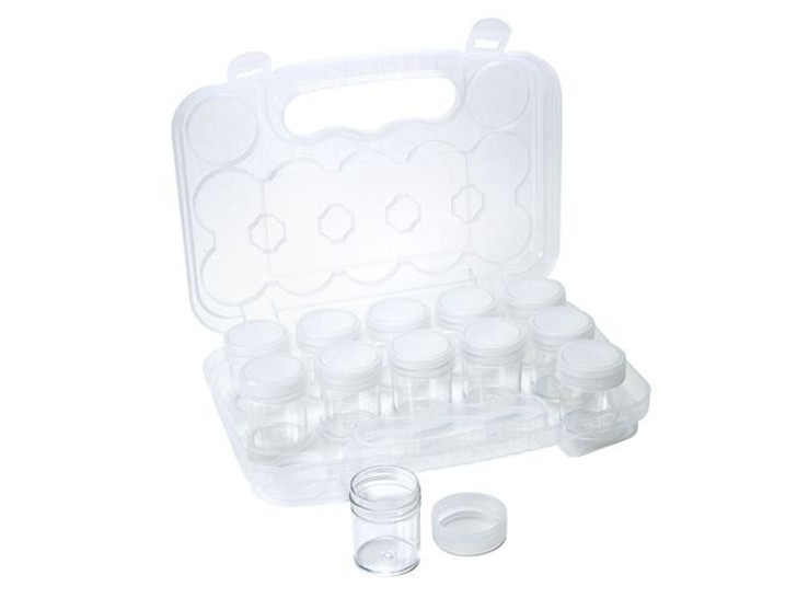 Bead Storage Travel Case - 12 Small Containers with Screw Top Lids
