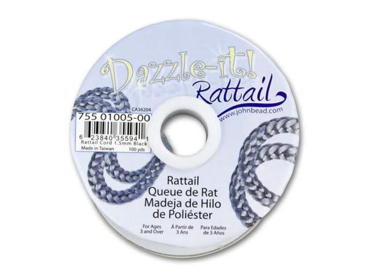 Dazzle It 1.5mm Black Satin Cord (100 -Yard Spool)