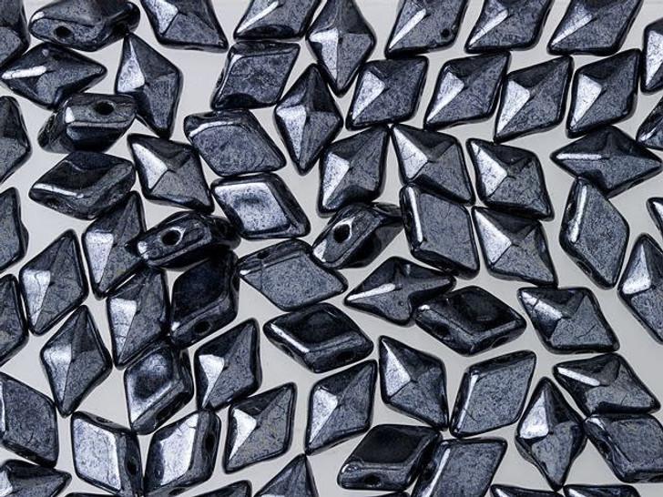 DiamonDuo 5x8mm Hematite Czech Glass 2-Hole Bead (10 gram pack)